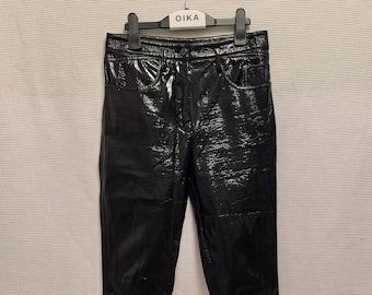 "CHIC vintage 90s Louis Vuitton black laminated cotton ""mom"" jeans size 38 good condition"