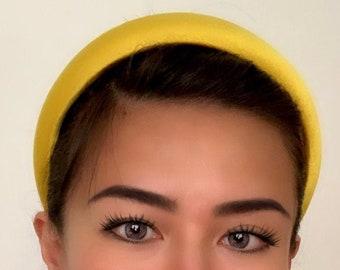 TRENDING brand new handmade sunshine yellow padded satin headband