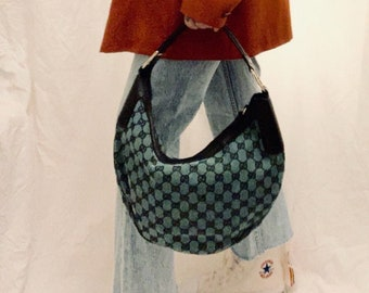 RARE FIND Gucci Guccissima half moon hobo bag in green monogram canvas and black leather details very good condition