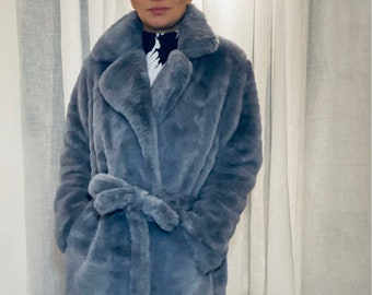 SEASON'S HOTTEST custom made faux fur coat in heather grey size 36-38-40 very good condition