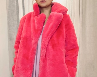 SEASON'S HOTTEST custom made faux fur coat in neon bubblegum pink size 36-38-40 very good condition