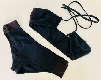 UNIQUE vintage 90s Prada bikini set featuring eggplant colored mesh details size IT 42
