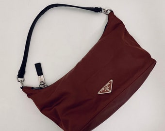 ONEOFAKIND vintage 90s Prada tessuto mini bag in deep burgundy good condition rare find