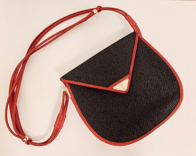 Featured listing image: MUSTHAVE Vintage 80s Yves Saint Laurent crossbody bag in grey cloth and red leather good condition