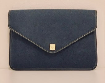 MUST-HAVE vintage Dior cloth clutch in Navy and honeycomb patterns