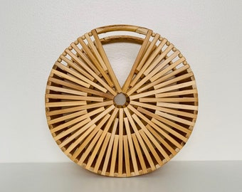 TRENDING vintage round bamboo handbag