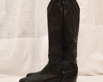 BOHO WESTERN vintage black leather cowboy boots size US6