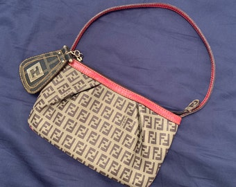 HOT vintage Fendi Zucca canvas mini baquette with fucshia leather details and oversized FF logo pendant good condition