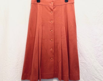 PARISIENNE CHIC vintage 80s midi wool skirt in coral pink size 36 very good condition
