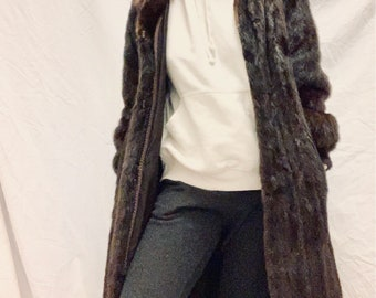 PERFECT COAT vintage 80s mahogany brown Saga Mink coat size 36/38/40 very good condition