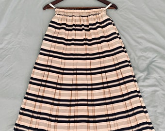 PARISIENNE CHIC vintage 90s midi pleaded pink skirt with navy stripes soze 36