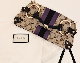 STUNNING vintage Gucci monogram cloth clutch bag/mini bag with detachable gold chain very good condition