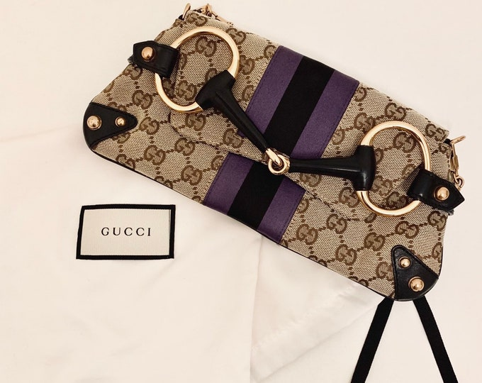 Featured listing image: STUNNING vintage Gucci monogram cloth clutch bag/mini bag with detachable gold chain very good condition