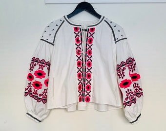 BOHO 90s vintage ethnic style embroidered short cotton jacket in white size 38/40