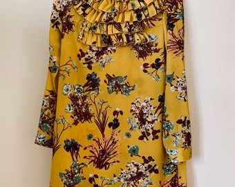 STUNNING handmade mustard yellow floral high neck mini dress with ruffle details size 36