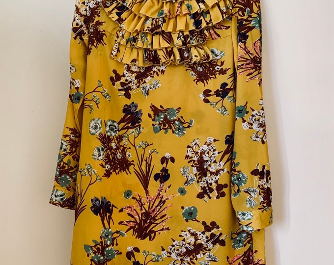 Featured listing image: STUNNING handmade mustard yellow floral high neck mini dress with ruffle details size 36