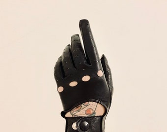 STYLISH Vintage 2000s calf skin racing style gloves size 6 very good condition