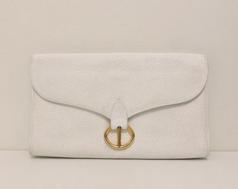ELEGANT vintage Dior oversized white leather clutch in white leather