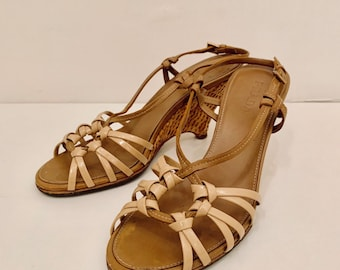 CHIC Vintage 90s Prada wedged leather sandals size 37