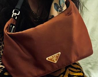 ONEOFAKIND vintage 90s Prada tessuto mini bag in deep burgundy good condition rare find