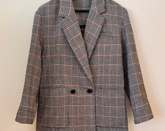OVERSIZED vintage 90s wool-blended blazer in houndtooth and plaid patterns