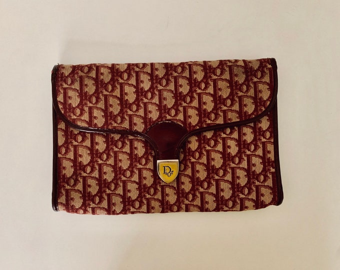 Featured listing image: DREAM BAG! Vintage 70s Dior clutch bag in red monogram cloth and gold colored clasp and chain