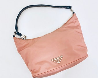 MUST HAVE vintage 90s Prada mini tessuto handbag in blush pink and navy leather details very good condition