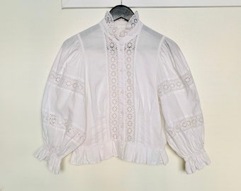 PEASANT BOHO vintage 90s cotton blouse with balloon 3/4 sleeves size 36