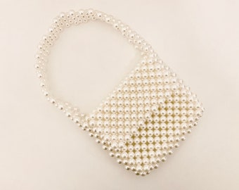 STUNNING handmade faux pearl mini handbag