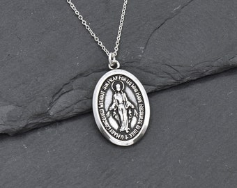sterling silver Mother Mary pray for us oval Religious Necklace charm N31