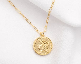 One of kind jewelry Unique jewelry An old coin necklace with Staylish face  medallion of Israel