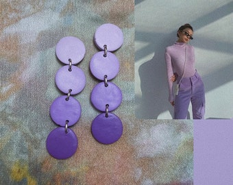 The Courtney/'s in Lilac Boho Minimalist Statement Light Purple Lavender Polymer Clay Earrings
