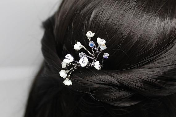 April White Blossom Hair Pins Cherry Blossom Bridal Hair Etsy