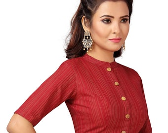3f911016bec546 Beautiful Maroon High Neck Readymade Sari Blouse Saree Blouse Choli Fabric  Craft Tunic Top Abstract Weaving Pure Cotton Women MadeInIndia