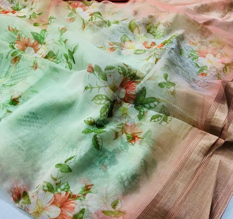 40 X 40 New Beautifully Silk Fabric Scrap Crafting Purpose Upholstery Digital Floral Printed Fabric Piece 1 Meter Made In India