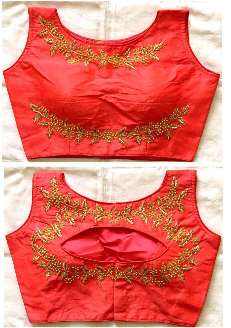 Beautiful Peach Readymade Sari Blouse Saree Blouse Choli Fabric Craft Tunic Top Floral Embroidered Banglori Silk For Women MadeInIndia