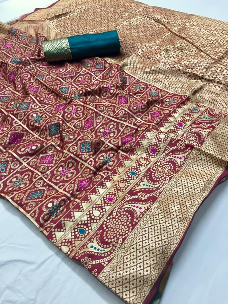 New Beautifully Embellished Saree Fabric Craft Floral Weaving Marriage Wear New Art Silk Sari For Women With Blouse Piece MadeInIndia
