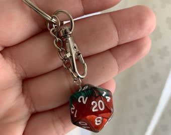 Swirled Colors D20 Keychain with Lobster Clasp - Green/Red with White Numbers