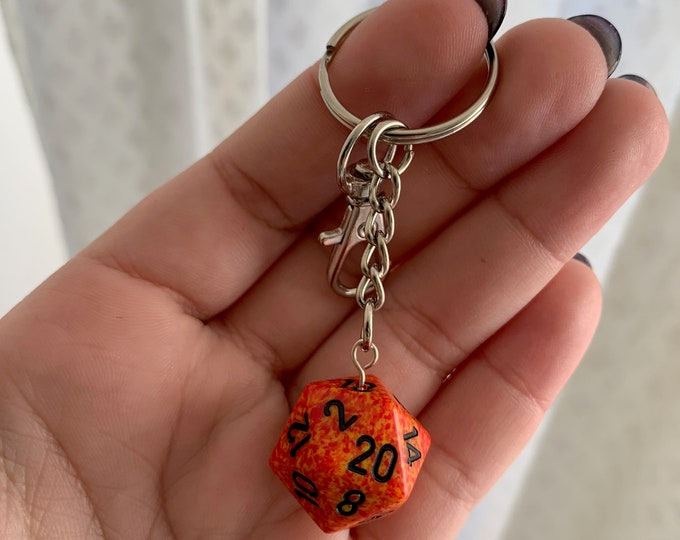 Speckled D20 Keychain with Lobster Clasp - Orange/Yellow with Black Numbers