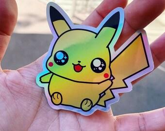 Holographic Pikachu Sticker - Pokemon / Laptop Decal / Bumper Sticker / Deck Box