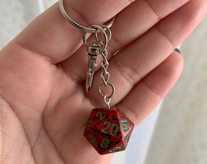 Speckled D20 Keychain with Lobster Clasp - Red/Black with Green Numbers