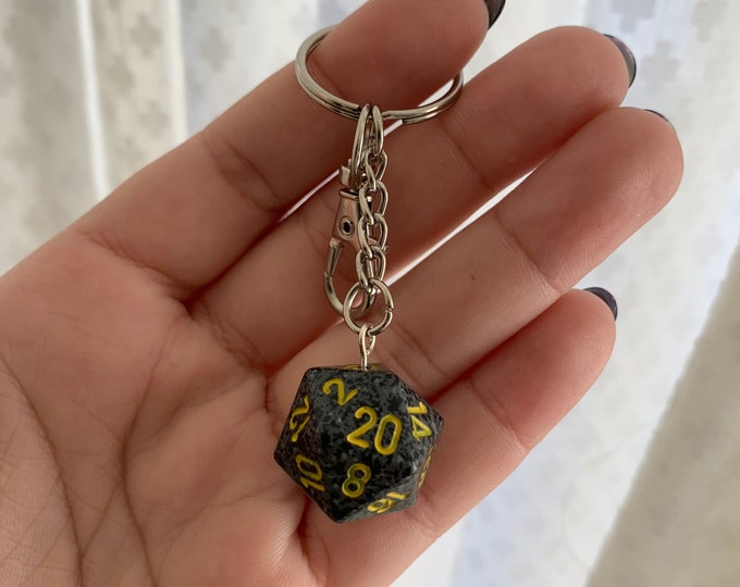 Speckled D20 Keychain with Lobster Clasp - Speckled Black/Grey with Yellow Numbers