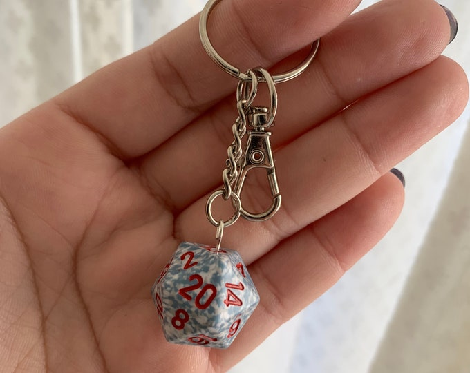 Speckled D20 Keychain with Lobster Clasp - Speckled White/Blue with Red Numbers