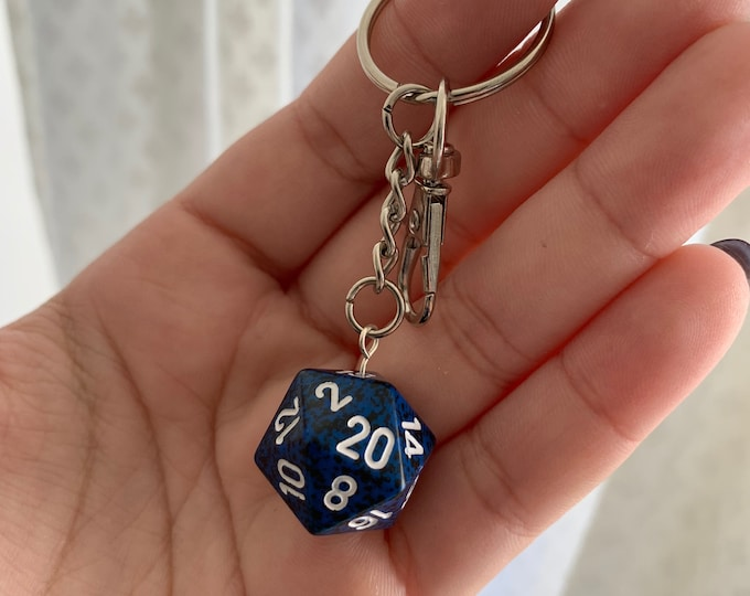 Speckled D20 Keychain with Lobster Clasp - Speckled Black/Blue with White Numbers