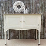 Edwardian Marble Top Washstand - Wash Stand - White - Russet - Grey - Castors - Sink - Bathroom - Vanity - Hand Painted