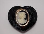 Black porcelain marble look heart shaped cameo trinket box
