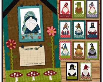 Gnome for the Holidays Calendar Applique Quilt*Gnomes of the Month*Gnome Pattern*Gnome Calendar*Gnome Wall Hanging*Gnome Mini Quilts*Gnomes*