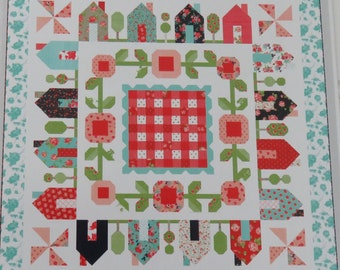 Springville Quilt Pattern by Thimble Blossoms* Bonnie and Camille* Springville* Spring Quilt* House Quilt* Houses* Spring Floral*