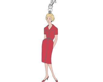 Lori Holt Happy Charm Vintage Lady Red