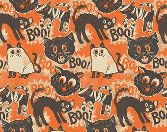 Free Spirit Spooktacular Scaredy Cat Orange (PWMA011.XORANGE) 1/2 yard Increments